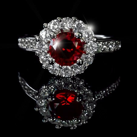 Belle Ruby Red Halo Engagement Cocktail Ring | 2.5ct | Cubic Zirconia