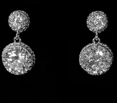 Sage Round Drop Statement Earrings | 4.5ct | Cubic Zirconia | Silver