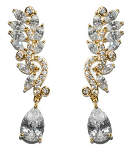 Sandra Marquise Cluster Linear Gold Chandelier Earrings | 10ct | Cubic Zirconia | Gold