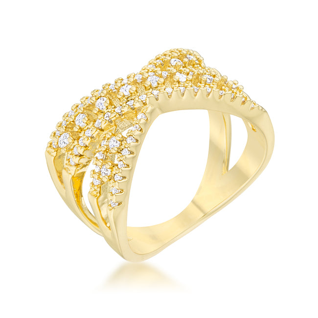 Sandy Classic Criss Cross Fashion Ring | 1ct | 14k Gold | Cubic Zirconia - Beloved Sparkles  - 1
