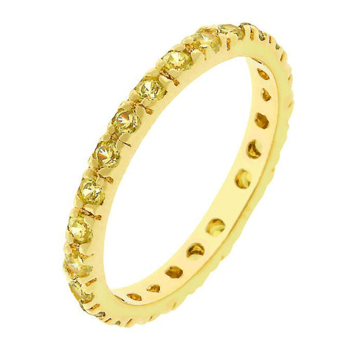 Sari Round Canary Eternity Stackable Ring | 1ct | Cubic Zirconia | 18k Gold