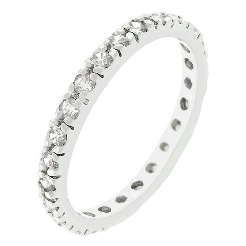 Sari Round Clear Eternity Stackable Ring | 1ct | Cubic Zironica