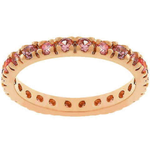 Sari Round Pink Eternity Stackable Ring | 1ct