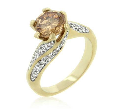 Satchel Round Solitaire Gold Ring | 4ct | Cubic Zirconia | 18k Gold