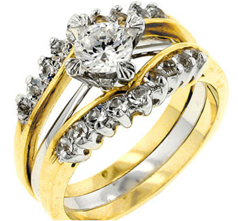 Shanny Two Tone Round Engagement and Wedding Ring Set | 1.5ct | Cubic Zirconia