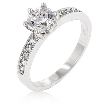 Shavon Clear Round Solitaire Engagement  Ring  | 1.5ct | Cubic Zirconia