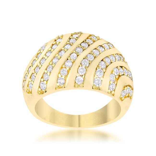 Shayla CZ 14k Gold Contemporary Dome Ring | 5ct | 14k Gold | Cubic Zirconia - Beloved Sparkles  - 1