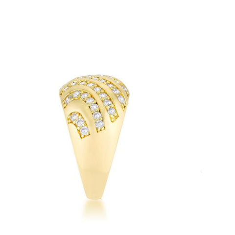 Shayla CZ Gold Contemporary Dome Ring | 5ct | 18k Gold