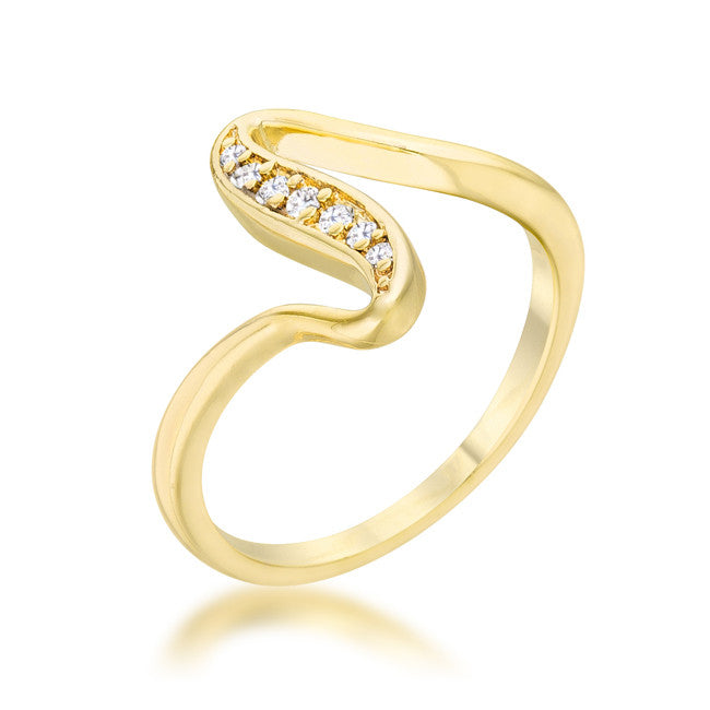 Sheryl 14k Gold Simple Wave Fashion  Ring | .3 Carat | Cubic Zirconia - Beloved Sparkles  - 1