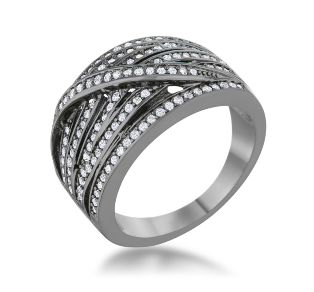 Shirah 1ct Hematite Wide Statement Ring | 1ct | Cubic Zirconia - Beloved Sparkles  - 1
