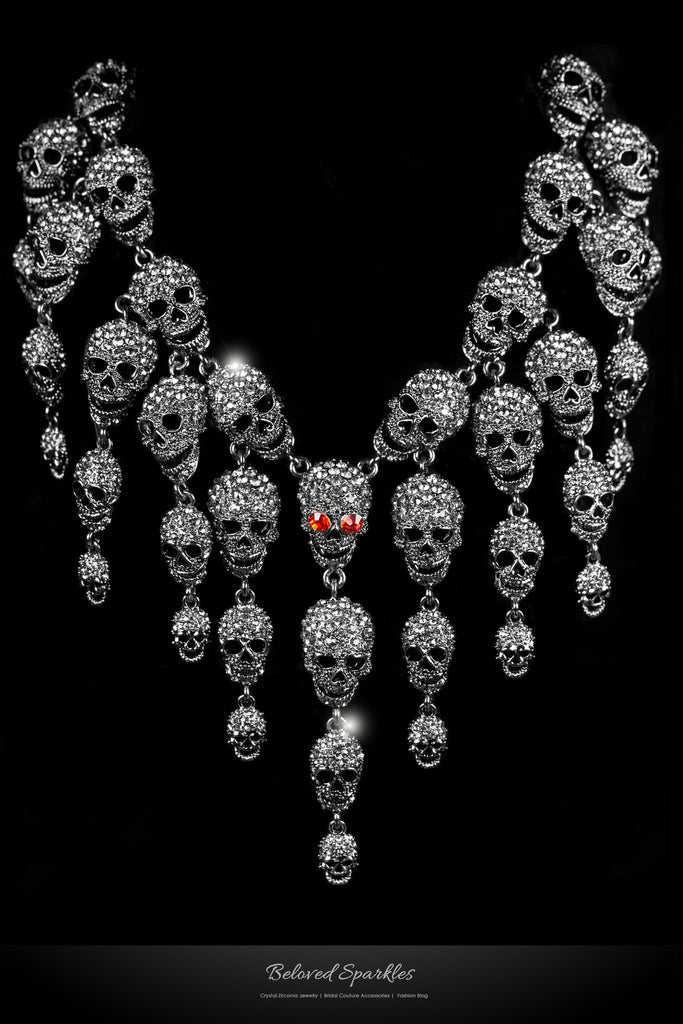 Skulls Cluster Clear Diamond Silver Goth Fashion Necklace | Crystal - Beloved Sparkles  - 1