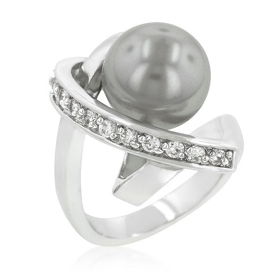 Sisley Dark Grey Stimulate  Pearl Knotted Ring | 2.4ct | Cubic Zirconia | Silver