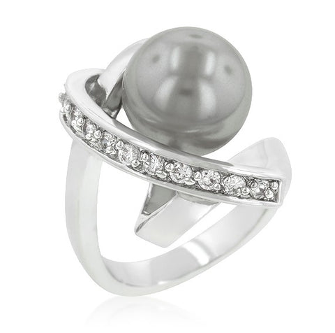 Sisley Dark Grey Stimulate  Pearl Knotted Ring | 2.4ct | Cubic Zirconia