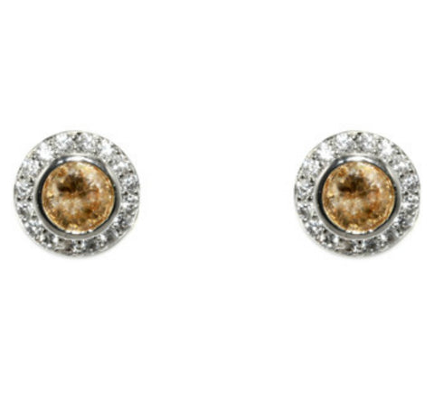 Sohan Champagne Round  Halo CZ Stud Earrings | Cubic Zirconia | Silver