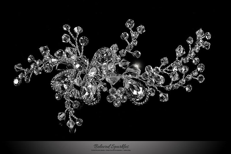 Helen Floral Spray Hair Clip | Swarovski Crystal - Beloved Sparkles  - 1