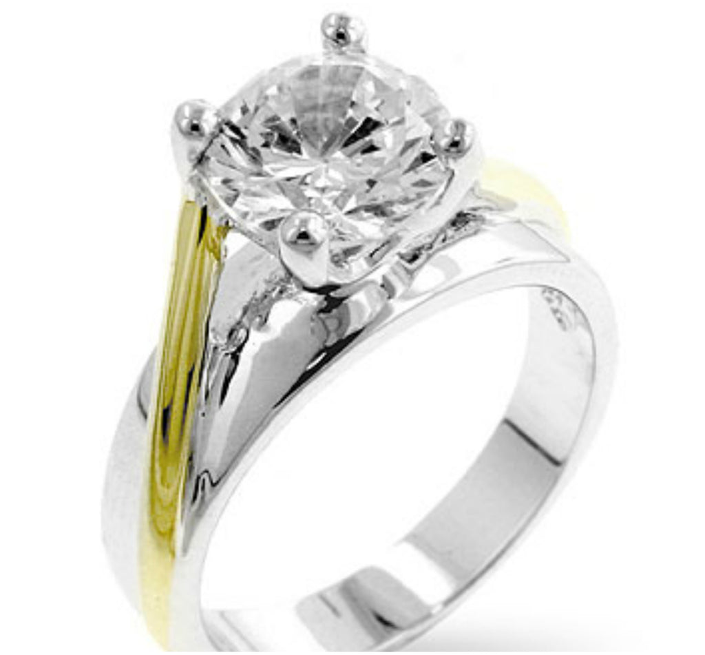Taka Two Tone Solitaire Engagement Ring | 1.7ct | Cubic Zirconia | 18k Gold