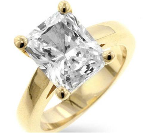 Tamefa Radiant Solitaire Gold Engagement Ring | 4ct | Cubic Zirconia | 18k Gold