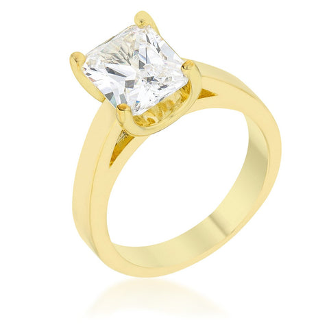 Tamefa Radiant Solitaire Gold Engagement Ring | 4ct | 18k Gold