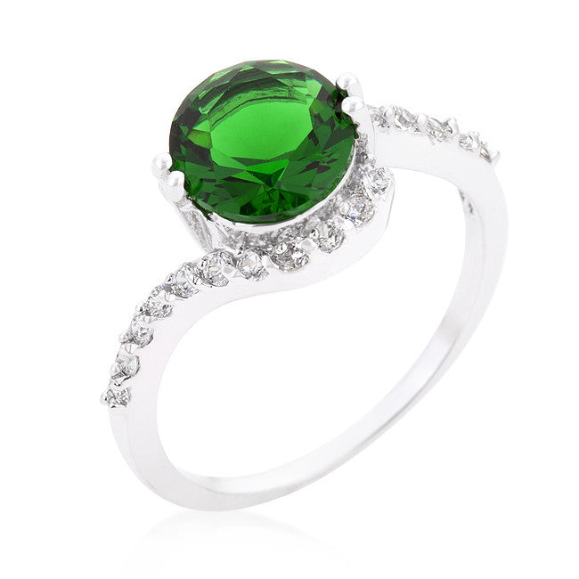 Tapice Emerald Green Round Swirl Engagement Rin g | 3 Carat | Cubic Zirconia - Beloved Sparkles  - 1
