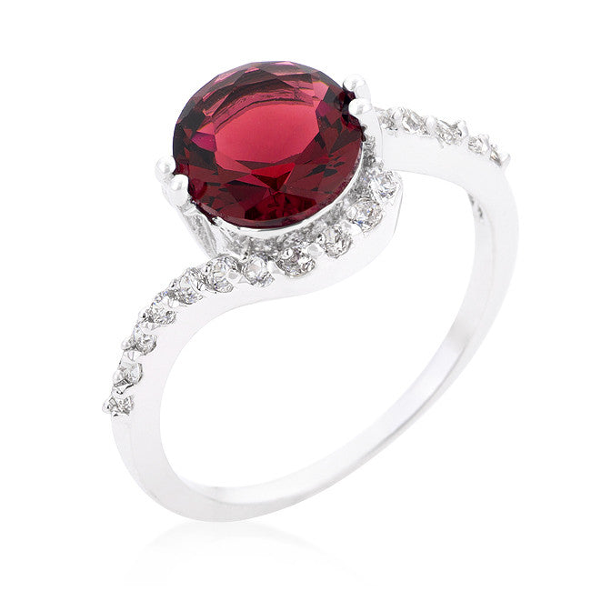 Tapice Ruby Red Round Swirl Engagement Rin g | 3 Carat | Cubic Zirconia - Beloved Sparkles  - 1