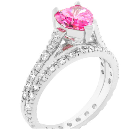Taree Pink Heart Cut Engagement Ring Set | 2.5ct | Cubic Zirconia