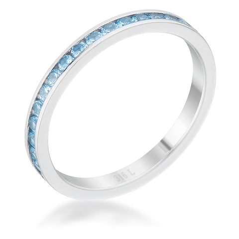 Teresa Blue Topaz Silver Eternity Stackable Ring | 1ct | Cubic Zirconia | Stainless Steel - Beloved Sparkles  - 1