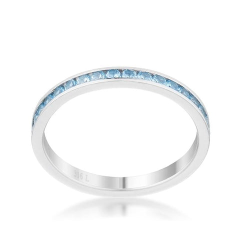 Teresa Blue Topaz Silver Eternity Stackable Ring | 1ct | Cubic Zirconia | Stainless Steel - Beloved Sparkles  - 2