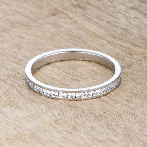 Teresa Clear Silver Eternity Stackable Ring | 1ct | Cubic Zirconia | Stainless Steel - Beloved Sparkles  - 1