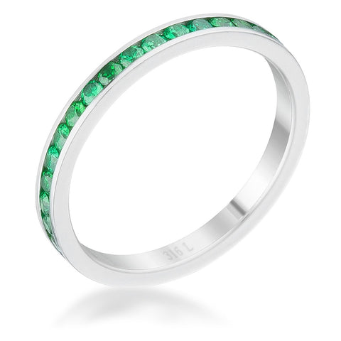 Teresa Emerald Green Silver Eternity Stackable Ring | 1ct | Cubic Zirconia | Stainless Steel - Beloved Sparkles  - 1