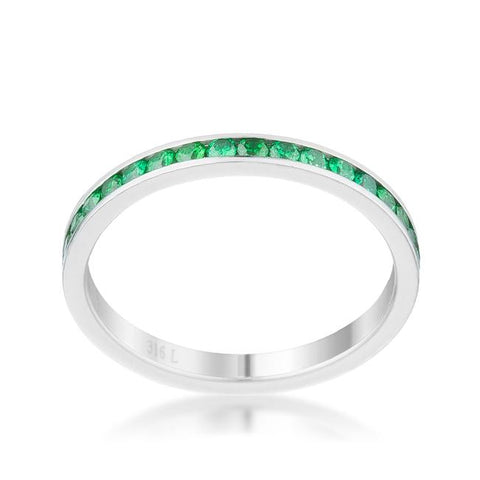 Teresa Emerald Green Silver Eternity Stackable Ring | 1ct | Cubic Zirconia | Stainless Steel - Beloved Sparkles  - 2