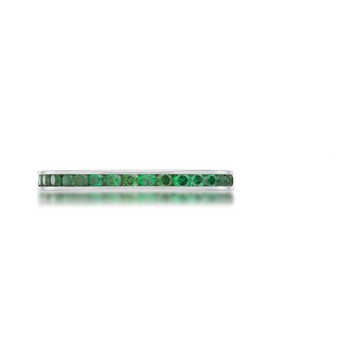 Teresa Emerald Green Silver Eternity Stackable Ring | 1ct | Cubic Zirconia | Stainless Steel