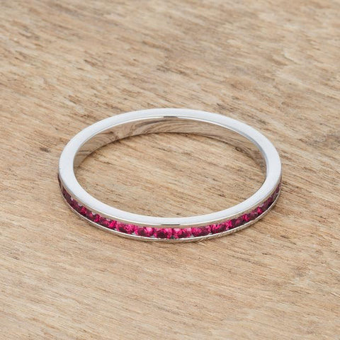 Teresa Garnet Red Silver Eternity  Ring | 1ct | Stainless Steel