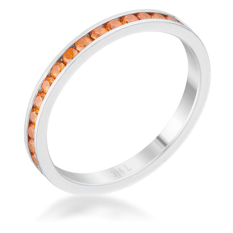 Teresa Orange Silver Eternity Stackable Ring | 1ct | Cubic Zirconia| Stainless Steel - Beloved Sparkles  - 1