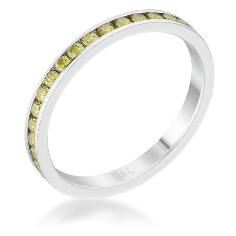 Teresa Peridot Green Silver Eternity Stackable Ring | 1ct | Cubic Zirconia | Stainless Steel - Beloved Sparkles  - 1