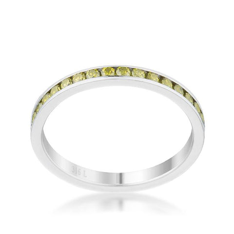 Teresa Peridot Green Silver Eternity Stackable Ring | 1ct | Cubic Zirconia | Stainless Steel - Beloved Sparkles  - 2