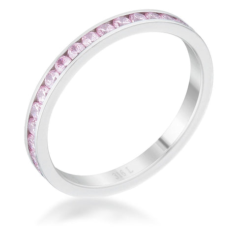 Teresa Pink Silver Eternity Stackable Ring | 1ct | Stainless Steel