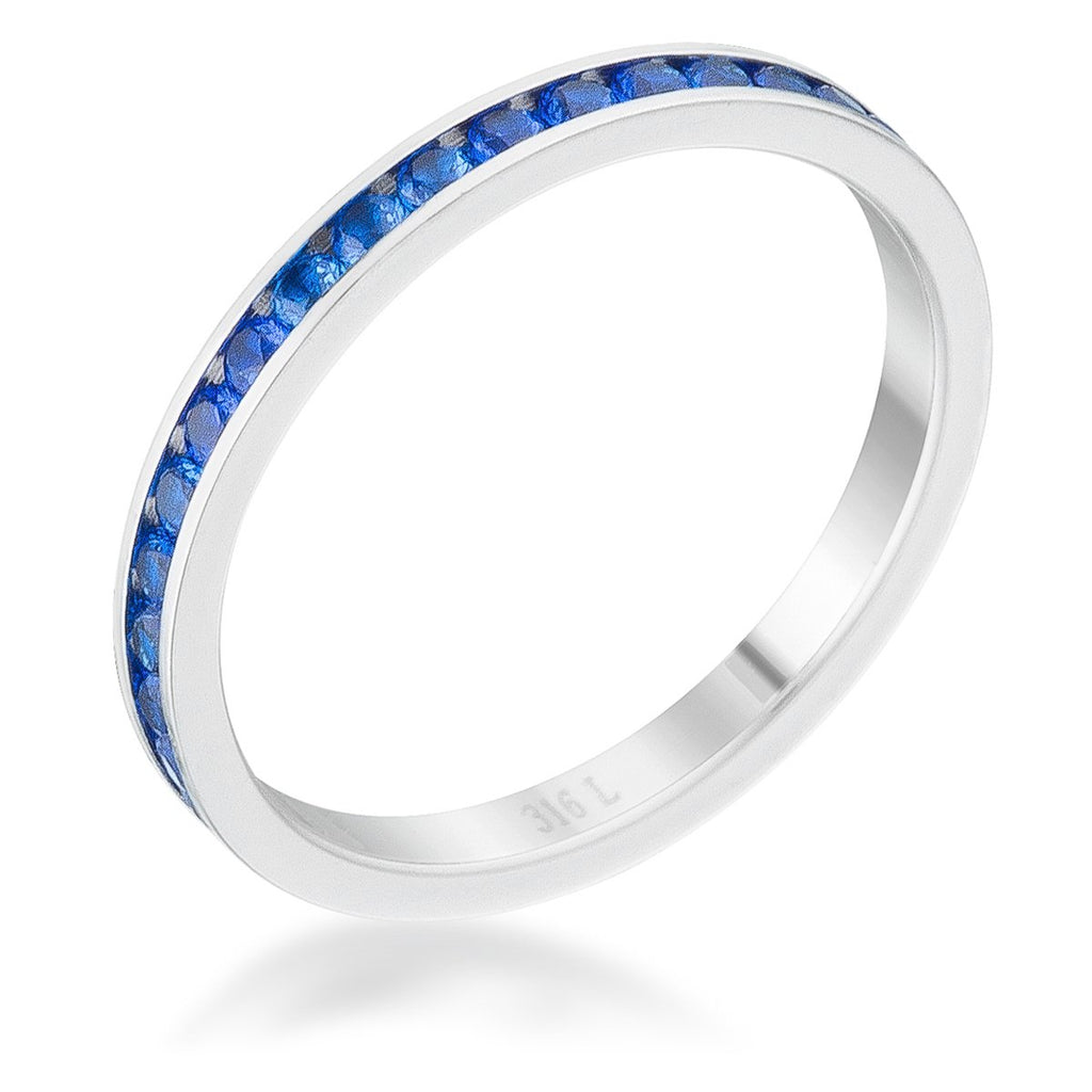Teresa Sapphire Blue Silver Eternity Stackable Ring | 1ct | Cubic Zirconia | Stainless Steel - Beloved Sparkles  - 1
