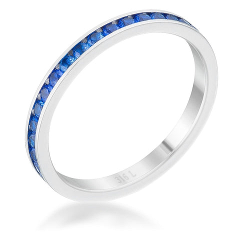 Teresa Sapphire Silver Eternity Stackable Ring | 1ct | Cubic Zirconia | Stainless Steel
