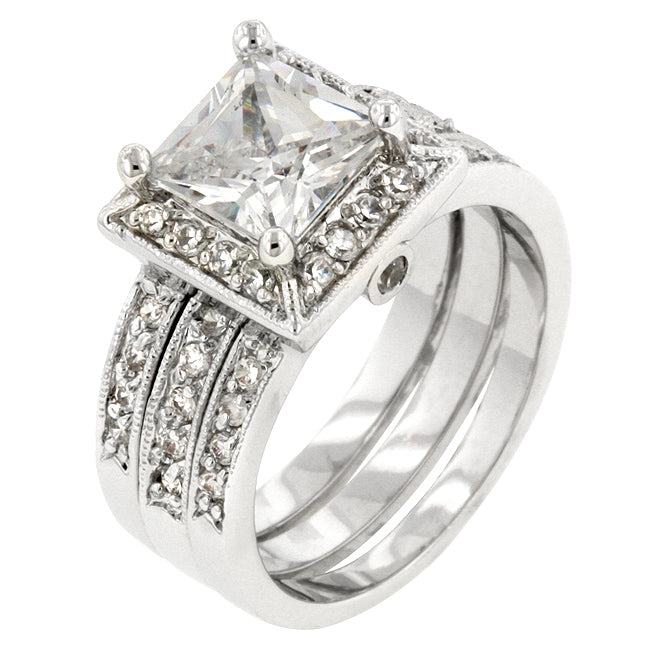 Theodra Princess Cut Engagement and Wedding Ring Set | 4.5ct | Cubic Zirconia | Silver