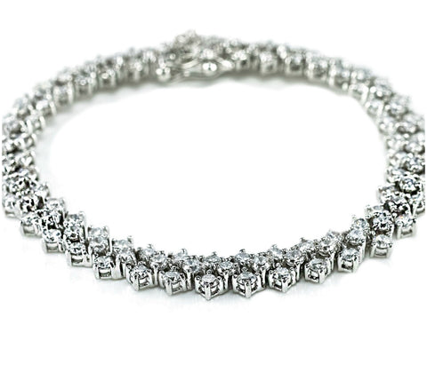Priscilla Three Rows Cluster Bracelet - 7.25in