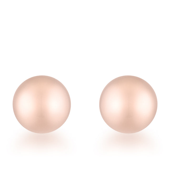 Tina Rose Gold Sphere Stud Earrings - 6mm | Stainless Steel