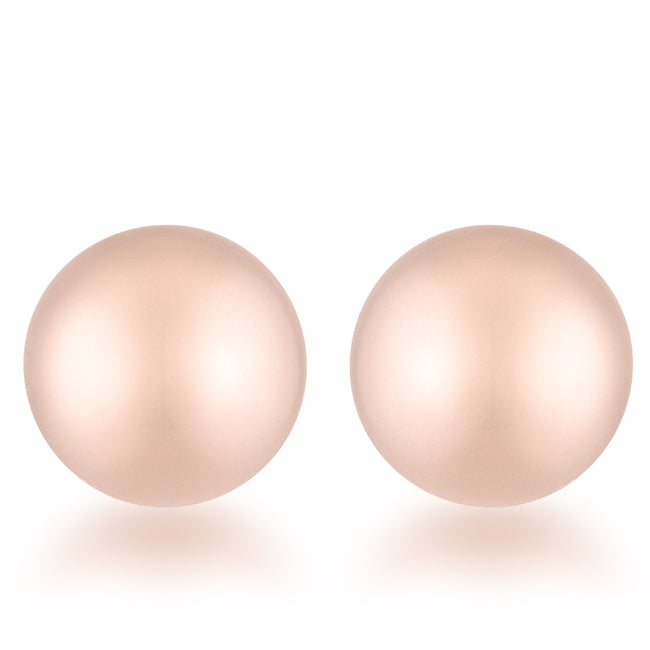 Tina Rose Gold Sphere Stud Earrings - 8mm | Stainless Steel