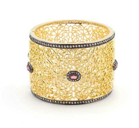 Toma Black and Gold Filigree Bangle Bracelet | Cubic Zirconia | Gold