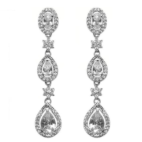 Trina Cascade Pear Linear Chandelier Earrings | 43mm