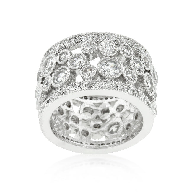 Trisha Filigree Cluster Eternity Wide Band Ring  | 8ct | Cubic Zirconia