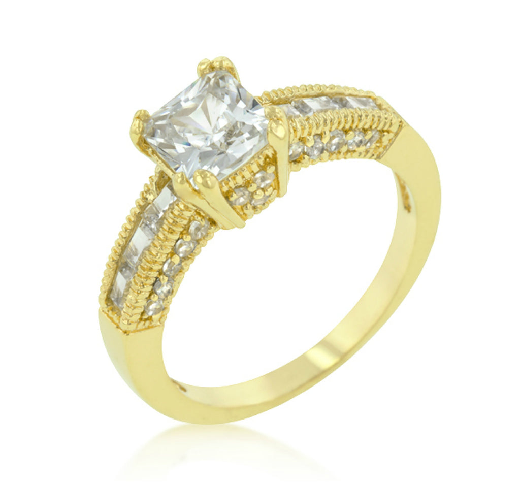 Valma Princess Cut Solitaire Engagement Gold Ring | 2.3ct |Cubic Zirconia |18k Gold