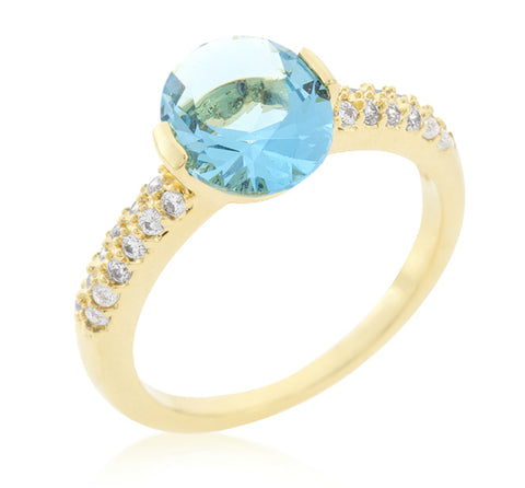 Harla Aqua Blue Oval Cut Gold Ring |2.2ct |Cubic Zirconia | 18k Gold - Beloved Sparkles  - 2