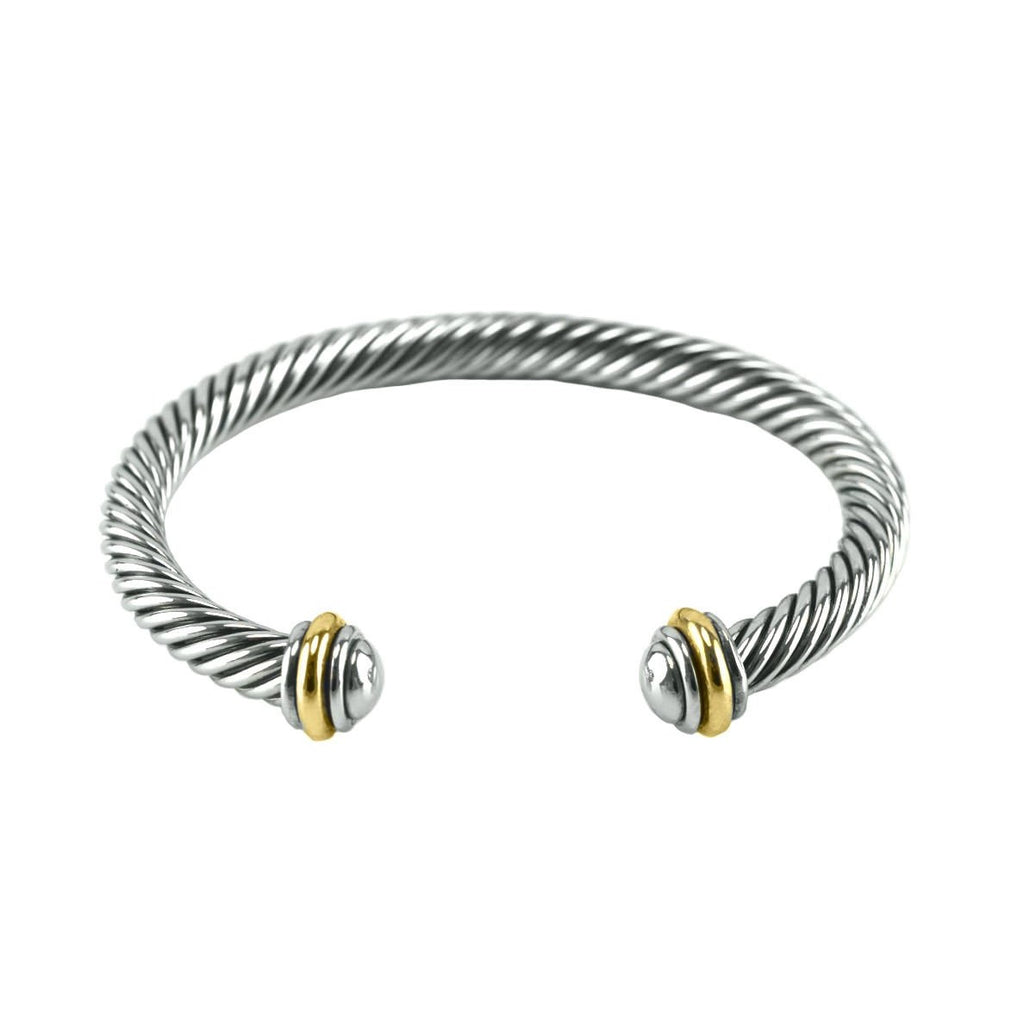 Vinia Two-Tone Textured Cable Open Bracelet