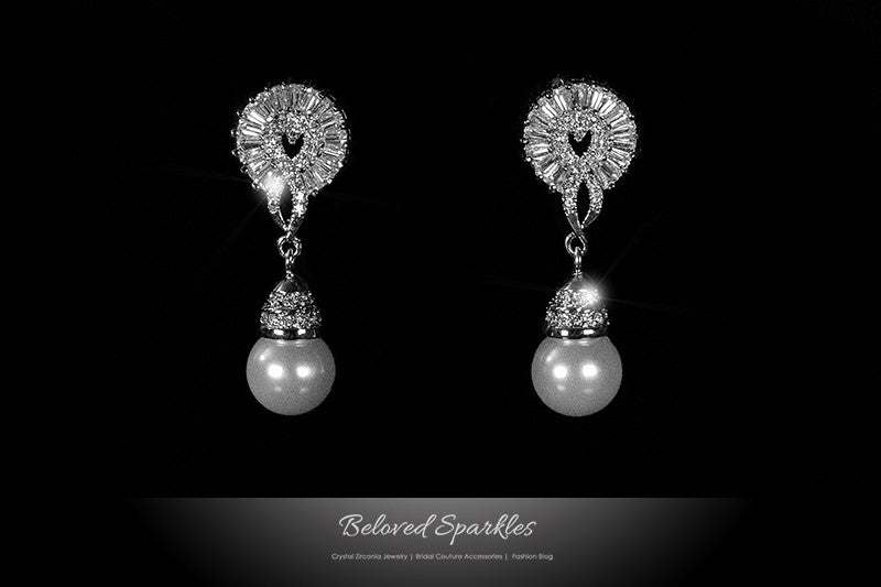 Phyllis White Pearl Drop Baguette Cluster Dangle Earrings | 2 Carat | Cubic Zirconia - Beloved Sparkles  - 1