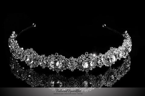 Kylie Oval Cluster Silver Headband | Swarovski Crystal - Beloved Sparkles  - 1